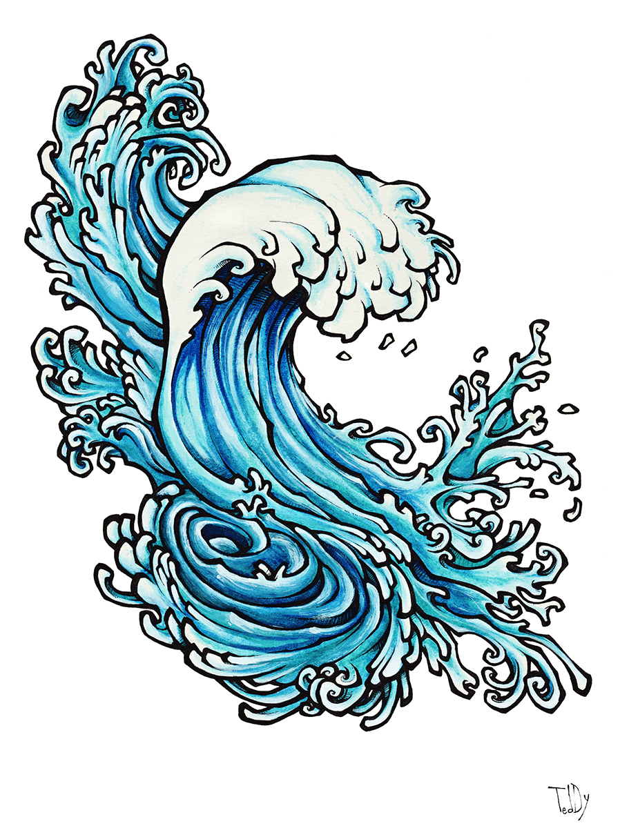 Abstract Wave Coca 2011 Black Pen And Watercolor On Paper