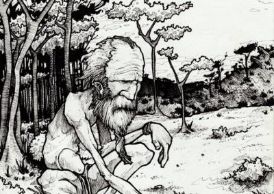 """Dessin """"échecs"""" 2008, stylo noir sur papier, 21 x 14,8 cm de Teddy Ros représentant un homme qui joue seul au échec dans la forêt avec des cailloux"""