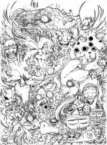 """Dessin """"vision-d'ayahuasca"""" 2009 stylo noir sur papier 29,7 x 21 cm de l'artiste Teddy Ros représentant les visions des esprits sous ayahuasca"""