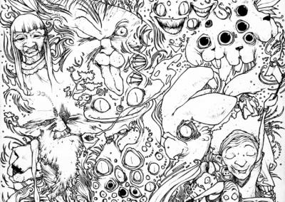 """""""vision-d'ayahuasca"""" 2009 stylo noir sur papier 29,7 x 21 cm"""