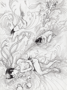 """dessin de Teddy Ros """"visions-luz"""" 2009 stylo noir sur papier 30 x 21 cm représentant une sessions d'ayahuasca"""