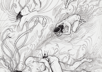 """""""visions-Luz"""" 2009 black pen on paper 30 x 21 cm"""