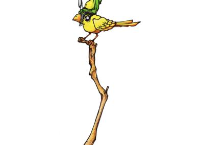 """""""vol d'oiseau Ayahuma"""" 2011, stylo noir et aquarelle sur papier, 29,7 x 21 cm"""