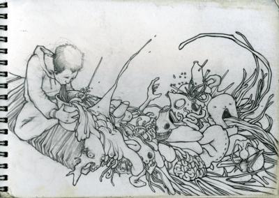 """Dessin """"vomit"""" 2009 crayon sur papier 14,8 x 21 cm de Teddy Ros représentant l'artiste en train de vomir sa noirceur"""