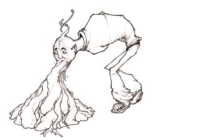 """Dessin """"vomitss"""" 2009 feutres sur papier 17 x 17 cm de Teddy Ros représentant un homme qui vomis beaucoup"""