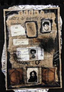 """illustration """"Auto-book-01"""" 2005 collage papier et carton 21 x 14,8 cm de Teddy ros page d'un livre fait main sur le thème de l'autoportrait"""