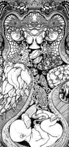 cadavre exquis réaliser avec les artistes Darkimey Kros et Teddy Ros pour le collectif Nohmad