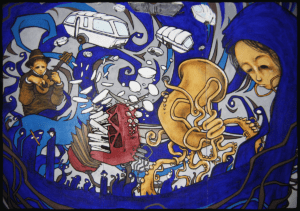 """Fresque réaliser par Teddy Ros a l'acrylique et posca pour le festival """" Traversé tzigane"""" 2003 représentant la vision du tzigane par l'artiste Teddy Ros"""