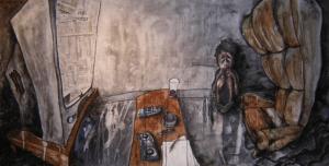 """toile """"Vidéo Tape"""" 2004 posca feutres et aquarelle sur marouflage 140 x 70 cm de teddy Ros représentant un enfant apeurée devant la télévision"""