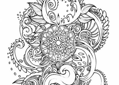 Dessin pour tatouage pour Tom, stylo noir sur papier, 2014
