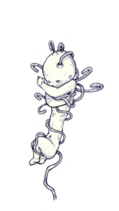"""Dessin """"bécabloto"""" 2004 feutres sur papier 14,8 x 21 cm de Teddy Ros représentant un enfant enrouler dans son cardon ombilicale"""