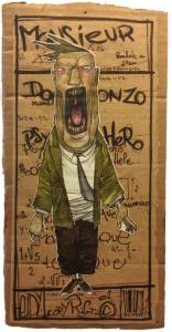 """""""Mr"""" 2007 feutres et aquarelle sur carton, 22 x 15 cm réaliser par Teddy Ros représentant un monsieur en costard cravate qui crie"""