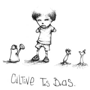"""Dessin """"Cultive tes bras"""" 2005 crayon papier sur papier 10,5 x 10,5 cm de Teddy représentant un garçon sans bras qui les a plantes dans la terre avec comme légende : """"cultive tes bras"""""""