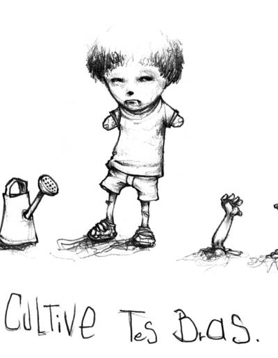 """ Cultive tes bras ""2005 paper pencil on paper 10.5 x 10.5 cm"