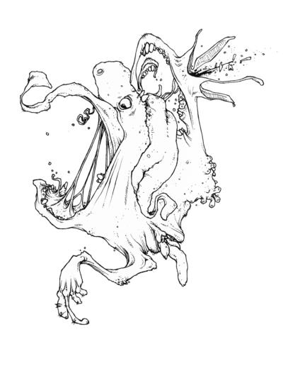 """Dessin """"défOr"""" 2006 stylo noir sur papier 15 x 15 cm de l'artiste Teddy Ros représentant un monstre organique en décomposition"""