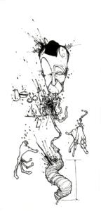 """Dessin """"DésOlation"""" 2007, stylo noir sur papier, 19 x 15 cm de Teddy Ros représentant un homme ou seul sa tête ses mains et son gros intestin reste"""