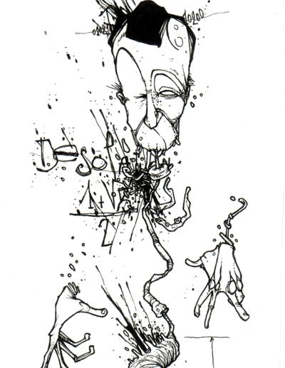 """""""DésOlation"""" 2007, stylo noir sur papier, 19 x 15 cm"""
