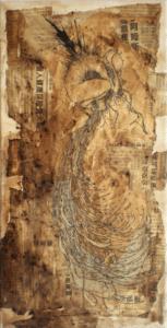 """Toile """"edwin"""" 2007 stylo noir, broux de noix sur marouflage 40 x 20 cm de Teddy Ros représentant un homme qui éclate"""