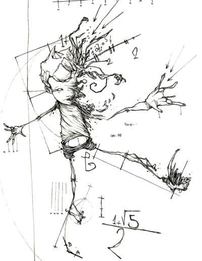 """Dessin """"enfant"""" 2006 stylo noir sur papier 21 x 14,8 cm de l'artiste Teddy Ros représentant un enfant ce transformant en équation mathématique"""