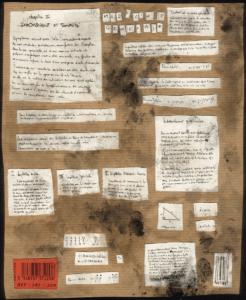 """""""étude lau suite"""" stylo noir sur papier, collage carton, 29,7 x 21 cm représentant une recherche graphique très mathématique"""