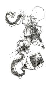 """Dessin """"filles"""" 2003 stylo noir sur papier 14,8 x 21 cm de Teddy Ros représentant un homme envahis de câbles électrique avec accrocher au bout une caméra et une télévision"""