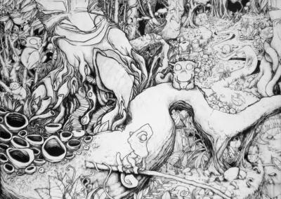 """Toile """"lolo 02"""" réaliser par l'artiste Teddy Ros au poasca et stylo noir, 180 cm x 250 cm"""