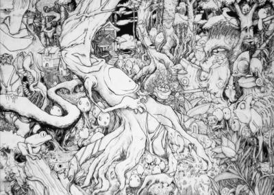 """Toile """"lolo 03"""" réaliser par l'artiste Teddy Ros au poasca et stylo noir, 180 cm x 250 cm"""