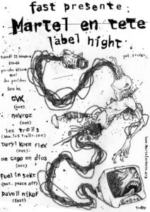 Affiches et flyers réaliser par l'artiste Teddy Ros pour le collectif F.A.S.T. pour leurs soirées et concerts