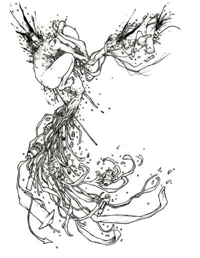 """Dessin """"foetus"""" 2003 stylo noir sur papier 29,7 x 21 cm de Teddy Ros représentant un homme qui explose avec plein de câbles qui sortent de lui"""