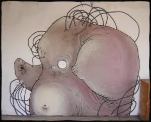 Graffiti fait à Toulouse dans le garage familial de Teddy Ros, fait à la bombe spray can représentant un monstre mi organique mi métallique