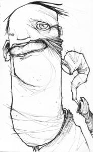 """Dessin """"gna"""" 2005 stylo noir sur papier 21 x 14,8 cm de Teddy Ros représentant un personnage avec un seul doigt"""