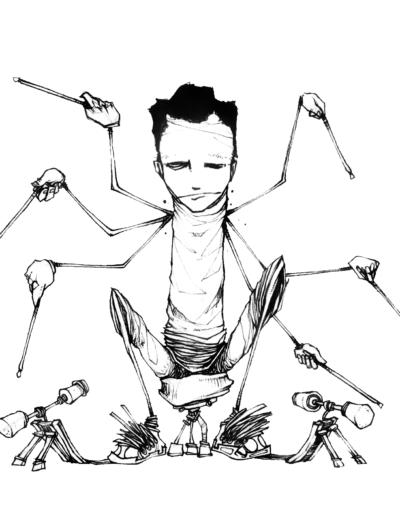 """""""homme araignée"""" stylo noir sur papier 13 x 13.5 cm réaliser par Teddy Ros représentant un homme a plusieurs bras tapant sur une batterie imaginaire"""