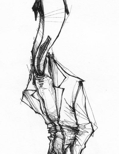 """Dessin """"hommemaison"""" 2005 stylo noir sur papier 14 x 5 cm de Teddy Ros représentant un homme avec une tête de maison les main dans ses poches"""