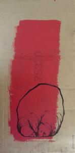 """illustration """"micro-goute"""" 2007 stylo noir acrylique sur carton, 36 x 16 cm, réaliser par Teddy Ros en Belgique représentant un petit monsieur"""