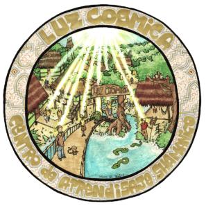 """Logo pour le centre """"Luz Cosmica"""", centre d'apprentissage de la médecine traditionnelle shipibo-conibo, 2009, stylo noir et aquarelle"""