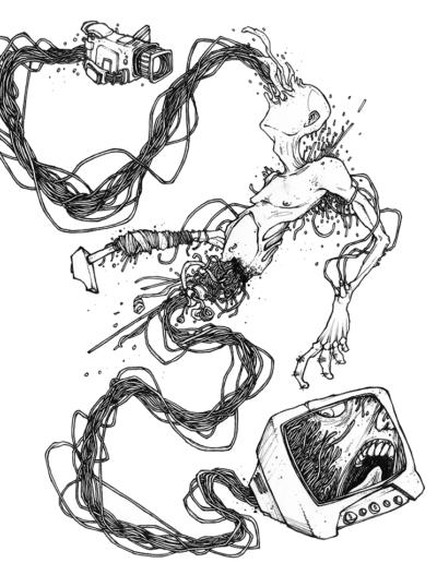 """Dessin """"Martel en Tête"""" 2007, stylo noir sur papier, 29,7 x 18 cm de l'artiste Teddy Ros représentant un homme traverser de différentes câbles électriques qui termine soit en caméra soit dans une télévision"""