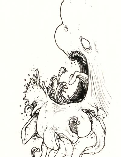 """Dessin """"kriss-1"""" 2006 stylo noir sur papier 21 x 10 cm de Teddy Ros représentant un monstre avec différent vagin et des langues qui sortent de dedans"""