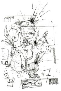 """""""le lapin"""" 2005 stylo noir sur papier 21 x 14,5 cm dessin de Teddy réaliser en 2005 au stylo noir sur papier 21 x 14,5 cm représentant une étude scientifique d'un enfant avec son doudous lapin"""