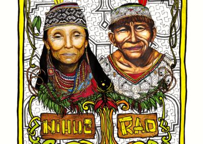 """illustration pour recherche de logo pour le centre """"nihue Rao"""", 2012, stylo noir, aquarelle et photoshop"""