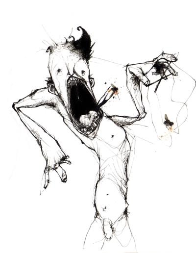 """Dessin """"mOuches"""" 2005 stylo noir sur papier mouches coller 15 x 15 cm réaliser par Teddy Ros représentant un homme qui hurle et crache des mouches"""