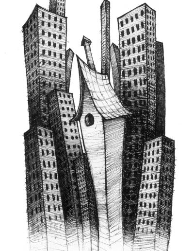 """""""MaisOn"""" 2008, stylo noir sur papier, 21 x 12 cm"""
