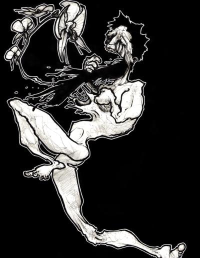 """Dessin """"mal-o"""" 2006 stylo noir sur papier 29,7 x 21 cm de Teddy Ros représentant un homme qui vomis ça noirceur sous forme d'orchidées sur fond noir"""