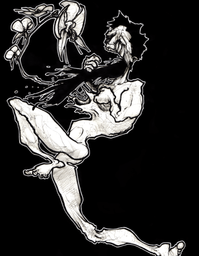 """mal-o"" 2006 black pen on paper 29.7 x 21 cm"