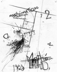 """Dessin """"math"""" 2003 crayon sur papier 12 x 10 cm de l'artiste Teddy Ros représentant une petite portion mathématique"""