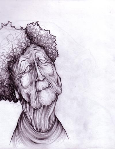 """Dessin """"mémé"""" 2005 crayon sur papier 21 x 21 cm de l'artiste Teddy Ros représentant une mamie extrêmement ridées"""