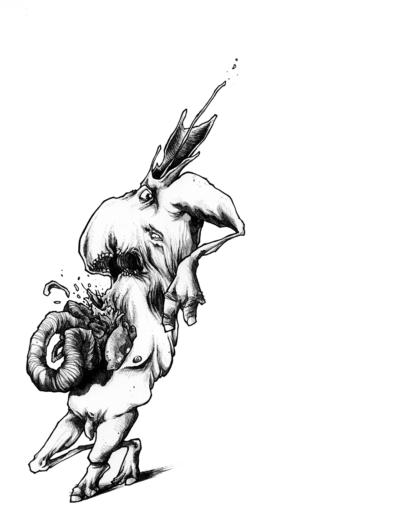 """Dessin """"monstras"""" 2008 stylo noir sur papier et feutre 29,7 x 21 cm de l'artiste Teddy Ros représentant un monstre avec les boyaux qui explosent"""