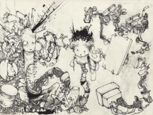 """Dessin """"musicologie"""" 2006 stylo noir sur papier 29,7 x 21 cm de l'artiste Teddy Ros représentant deux personnages mi humain mi robots jouant de la musique et dessinant"""