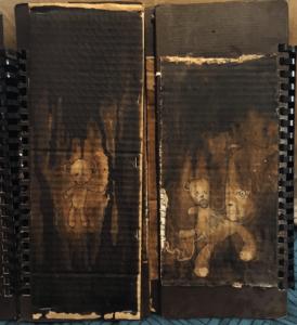 """""""jean-françois"""" livre réaliser entièrement à la main par l'artiste Teddy Ros sur le thème du double et de la solitude, stylo noir, aquarelle, broux de noix, agrafes et acrylique"""