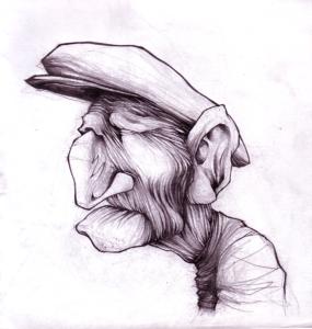 """Dessin """"pépé"""" 2005 crayon sur papier 21 x 21 cm de Teddy Ros représentant une personnes âgée très ridée"""