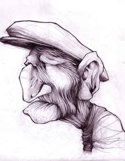 """""""pépé"""" 2005 crayon sur papier 21 x 21 cm"""